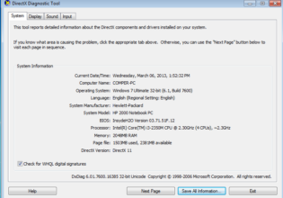 DirectX Diagnostic tool