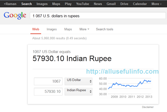 Convert currency with Google