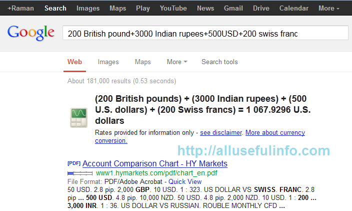 currency calculate on Google Search