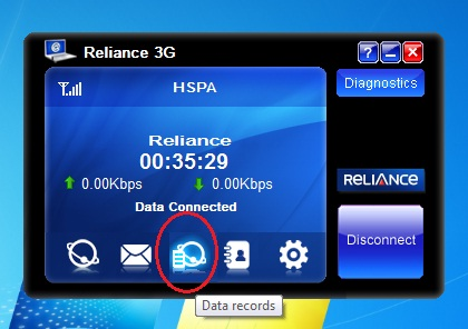 Check Internet balance by clicking on data Records