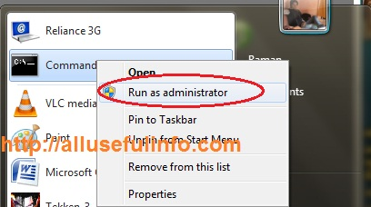 Command Prompt>>Run as Administrator