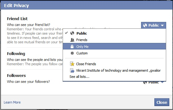 Edit privacy of friends list