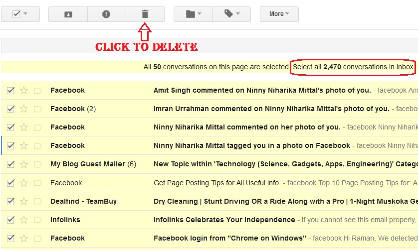Delete selected mails