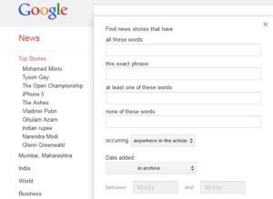 Find Old News at Google News