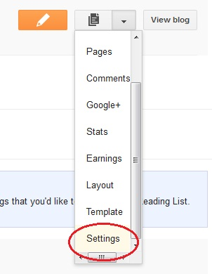 Open Settings in blogger dashboard