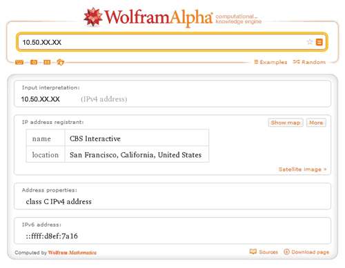 Trace Location with Wolfram Alpha