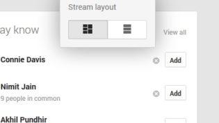 Change stream layout in Google plus