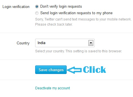 Save Changes in Twitter language
