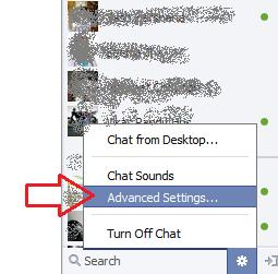 Advanced Settings FB Chat