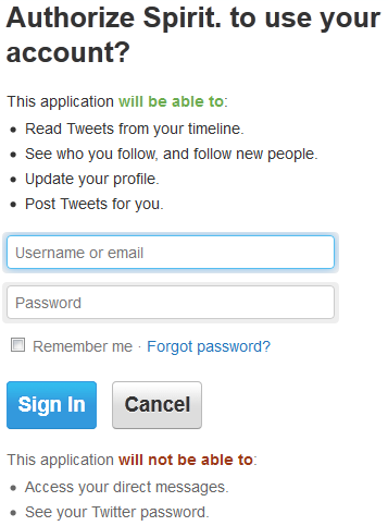 Authorize spirit to use your account