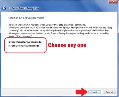 Choose Activation Mode