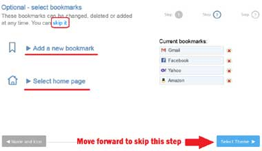 Select Bookmarks or Move Forward