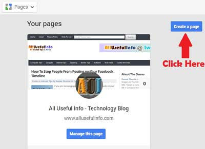 Create a page on G+