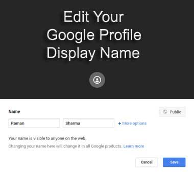 Edit Your Google Profile Name