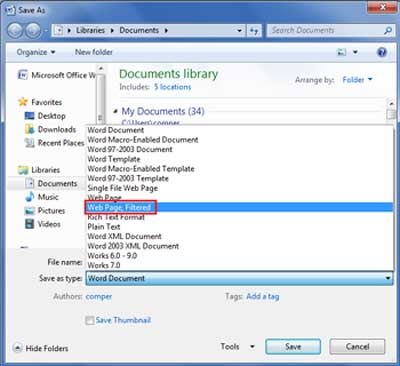 Save Word Documet as Web page
