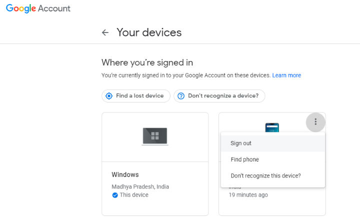 Sign out of Google Play remotely