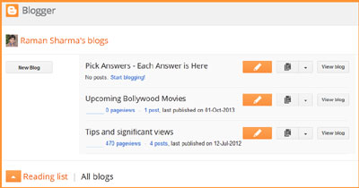 My Blog List on Blogger