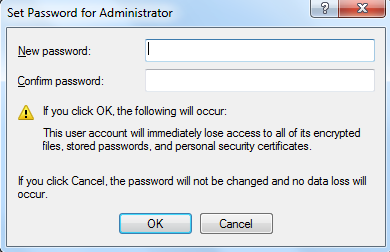 Set new password for Administrator