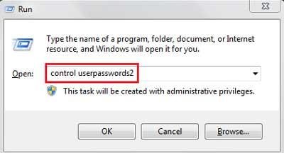 Type control userpasswords2 in Run Box