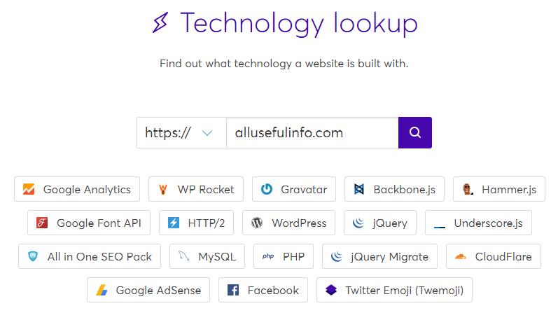 Wappalyzer - Find technologies behind a website