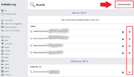 Clear Facebook Search Activity