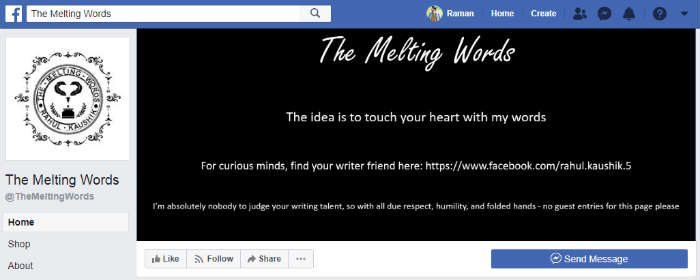 The Melting Words Facebook Page