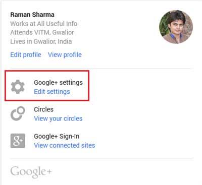 Edit Google Plus Settings