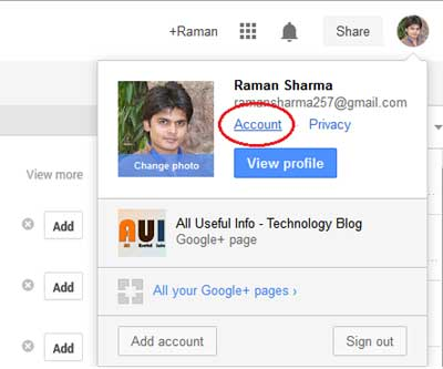 Google Plus Account Details
