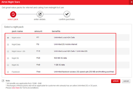 Select Any Night Pack of Airtel