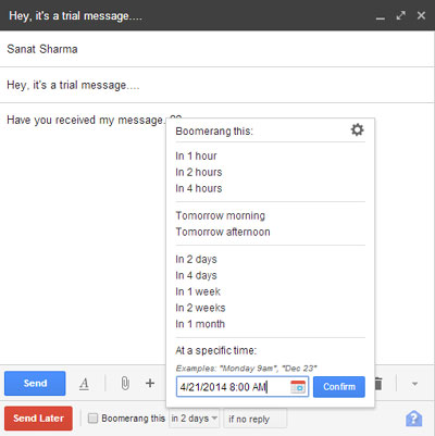 Send email later