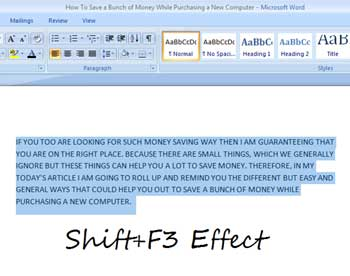 Shift+F3 Effect