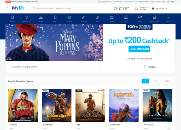 Paytm to Book Movie Tickets in India