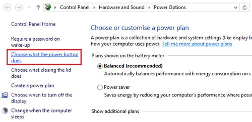 Choose What the power button does