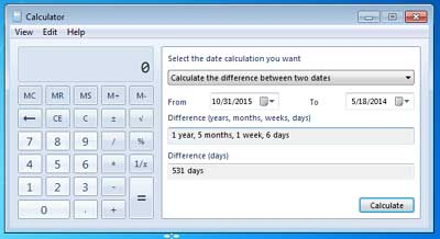 Date calculation in Win calculator