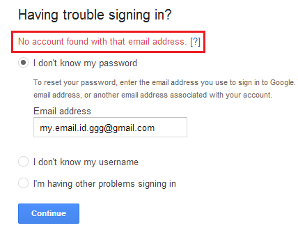 Email not exist on Gmail