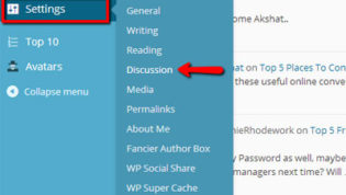 Open Discussion Settings in WordPress