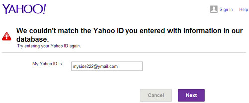 Yahoo email not exists