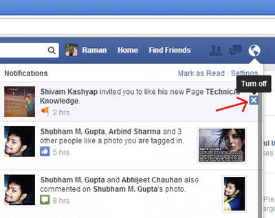 Cross button to off FB Notifications