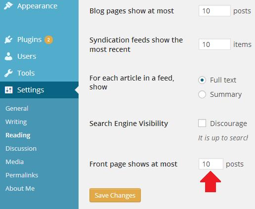 Set Homepage count in WordPress Blog