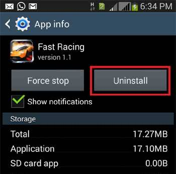 Uninstall App in your Android Device