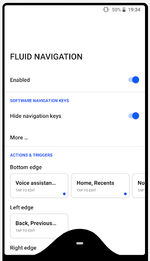 Fluid Navigation Gestures Android app
