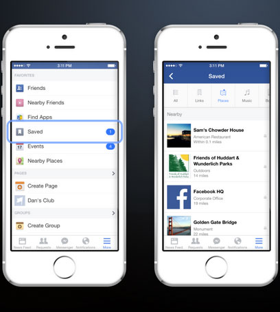 Facebook adds save feature