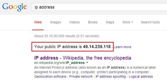 Find IP Address using Google