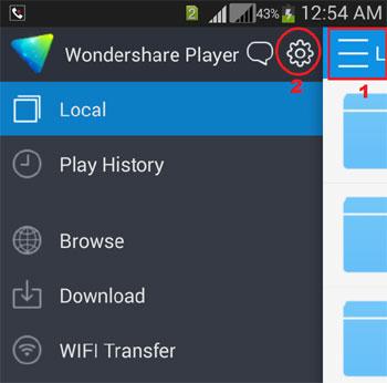 Open Wondershare settings