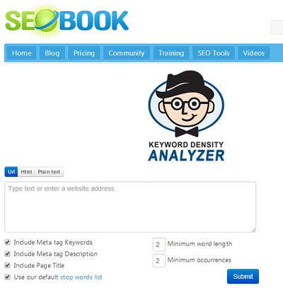 SEOBook Keyword Density Checker