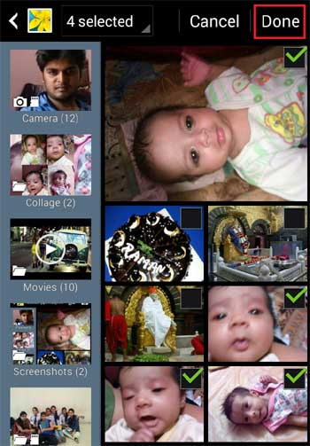 Select photos for making collage