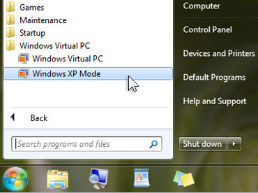 Use Windows XP Mode in Win 7