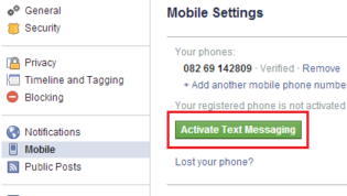 Activate Text Messaging for Facebook