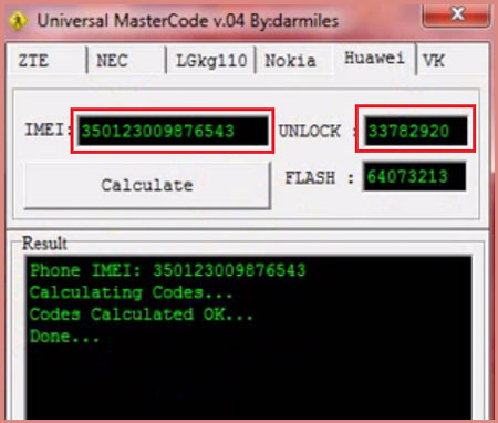 Calculate Unlock code using IMEI number