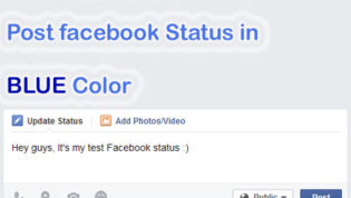 Post FB status in blue color